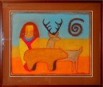 "Artist: Mark Swazo-Hinds (Tesuque) ""Untitled""  Man, Bear and Elk 31"" x 38½"" Value: $500"