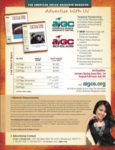 Advertise in the American Indian Graduate Magazine